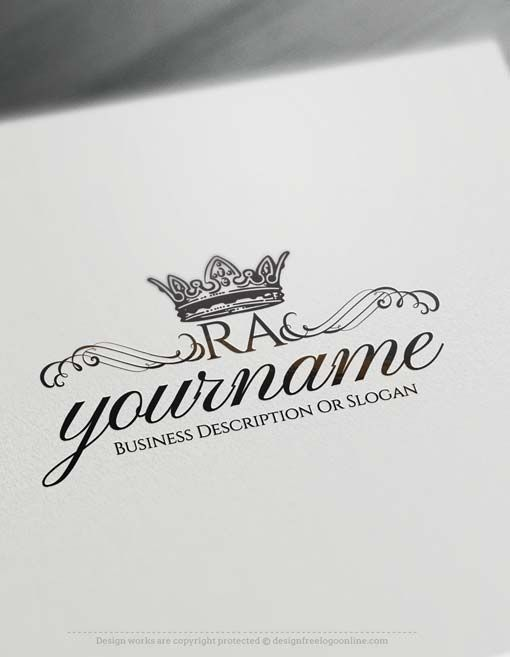 Create Vintage Crown Logo Design With The Free Logo Maker In 2020 Initials Logo Design Vintage Logo Maker Logo Design Software