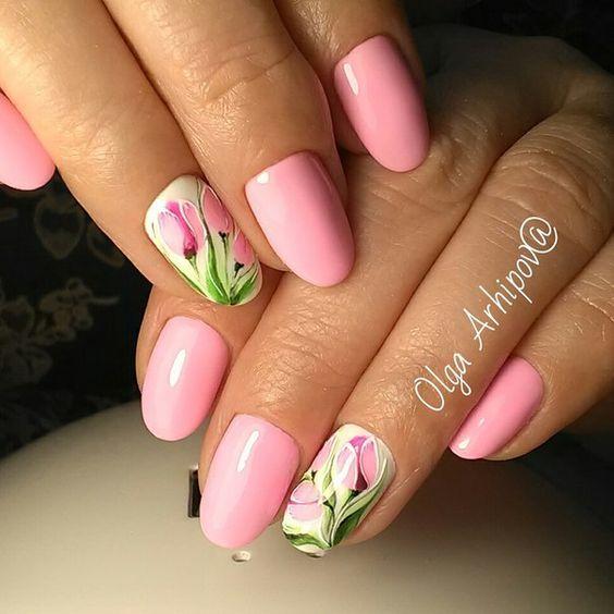 Modne Paznokcie W Kwiaty Top 27 Niesamowitych Inspiracji Na Manicure Tulip Nails Nails Design With Rhinestones Pink Nail Art