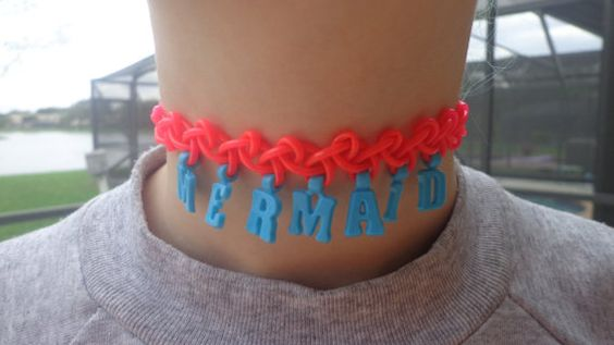 Tattoo choker neon coral and turquoise Mermaid by CandraMikaylah, $7.00