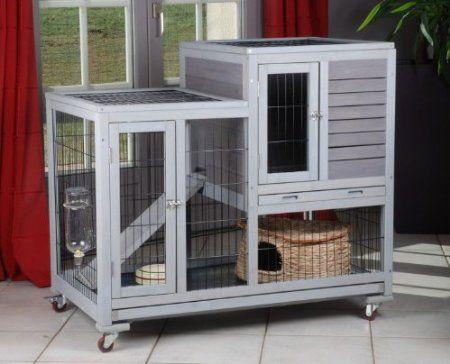 Animaloo - Cage Clapier RESTLAND Bois pour Lapin d'Intérieur: Amazon.fr: Animalerie