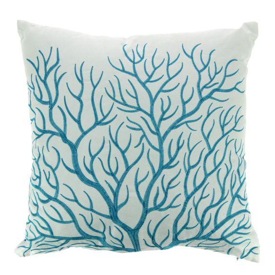 coussin brod blanc et bleu 40x40cm corail les coussins coussins d coratifs linge de maison. Black Bedroom Furniture Sets. Home Design Ideas