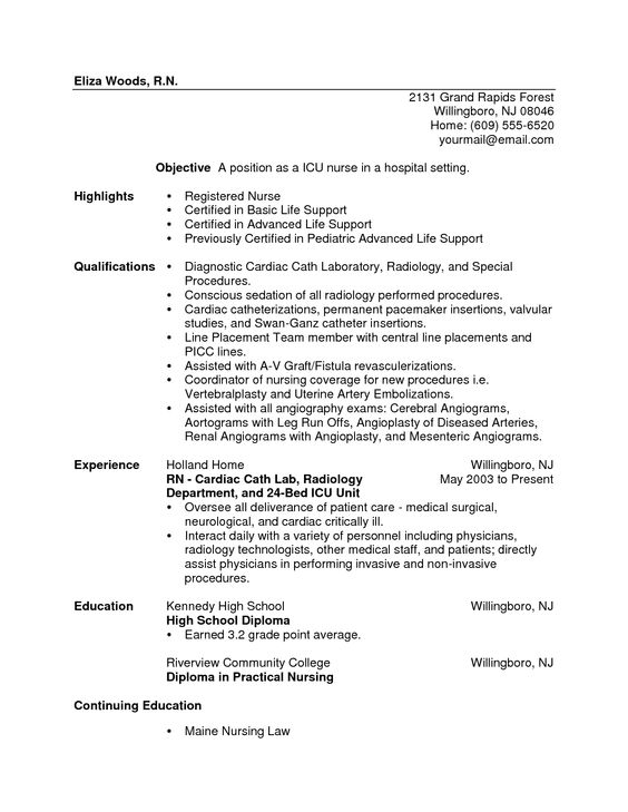 Resume For New Nurse Nurse Resume  Nurse Resume Example  Nursing  Pinterest  Resume .