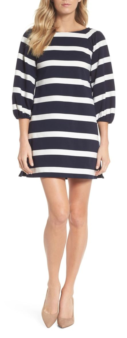 Striped balloon shift dress