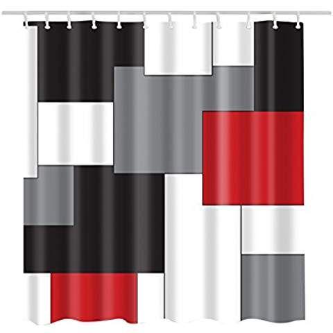 Custom Best White Grey Black And Red Irregular Geometric Splicing Shower Curtain Waterproof Mildew Resistant