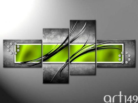 tableau moderne gris et vert
