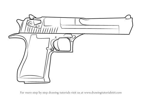 Step By Step How To Draw Imi Desert Eagle Drawingtutorials101 Com Desert Eagle Guns Drawing Guns Sketch