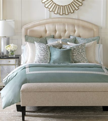 A perfect bedroom - love the color scheme - Aqua teal and cream with gold accents