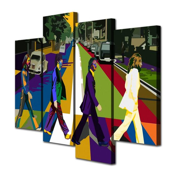The Beatles Abbey Road Wpap Canvas Giclee Print Painting | Etsy