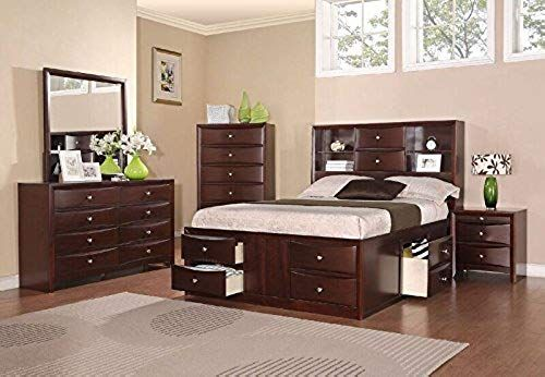 Buy Poundex Cal King Bed Espresso Finish Brown Online In 2020 Bedroom Furniture Sets Bookcase Headboard Queen Bedroom Sets