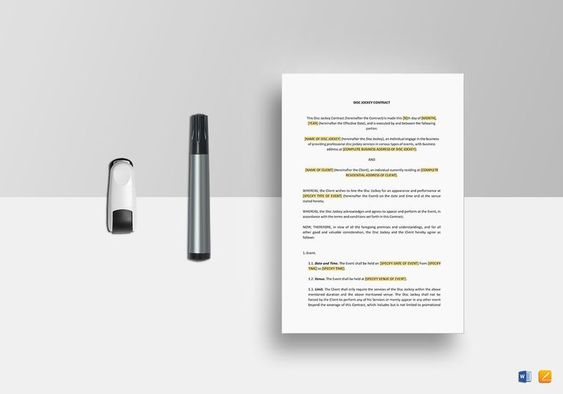 Dj Contract Template  Formats Included  Ms Word Pages File
