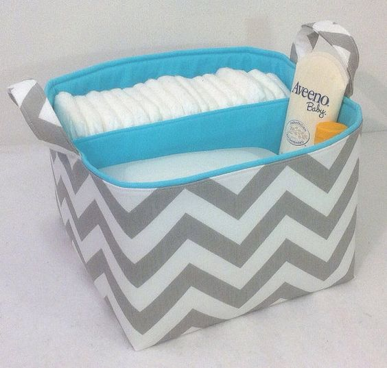 "LG Diaper Caddy, 10""x10""x7"" Fabric Bin, Fabric Storage Bin, Chevron Zig Zag Grey/ Aqua Blue"