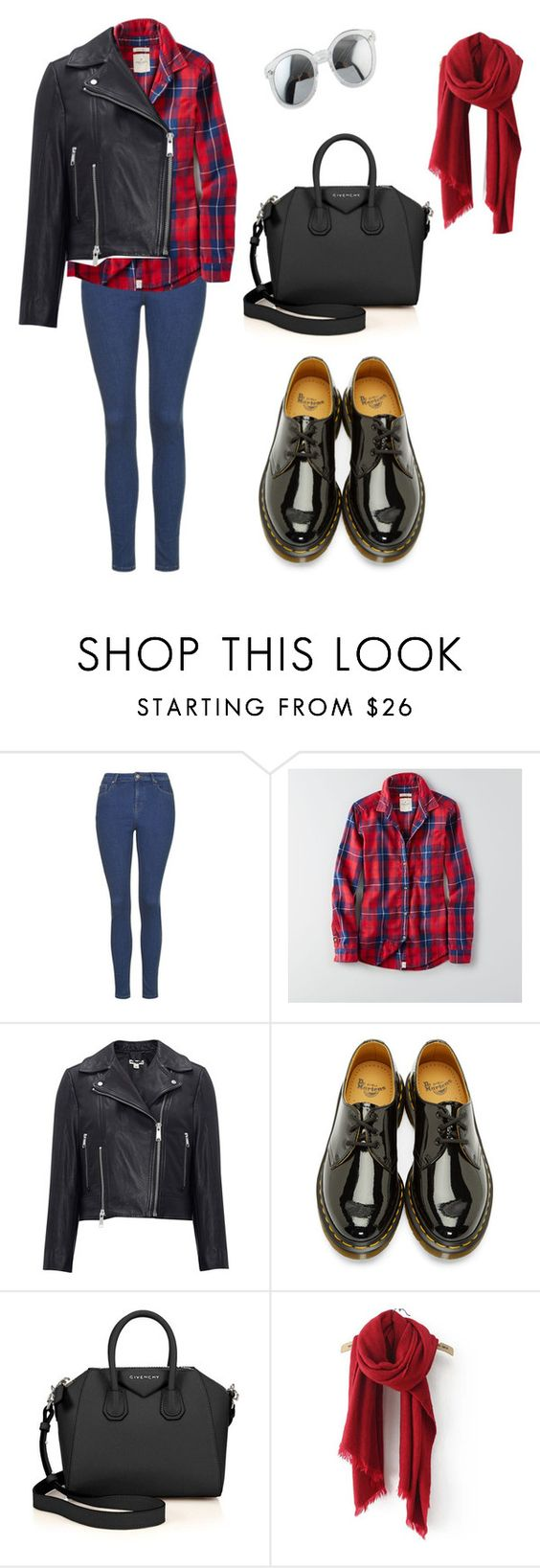 """Untitled #329"" by christinaallayi ❤ liked on Polyvore featuring American Eagle Outfitters, Whistles, Dr. Martens and Givenchy"