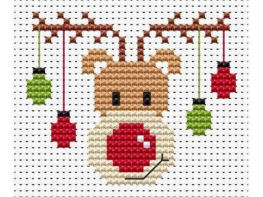 Sew Simple Rudolf Cross Stitch Kit £8.95 | Past Impressions | Fat Cat Cross Stitch