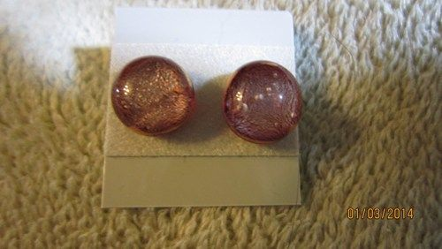RED ORANGE YELLOW GOLD SURGICAL STEEL ROUND STUD EARRINGS FREE SHIP   Imaginative_Creations - Jewelry on ArtFire
