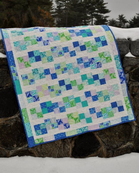 Layer Cake Quilt Square Patterns : PDF Baby Quilt Pattern using charm squares or jelly roll ...