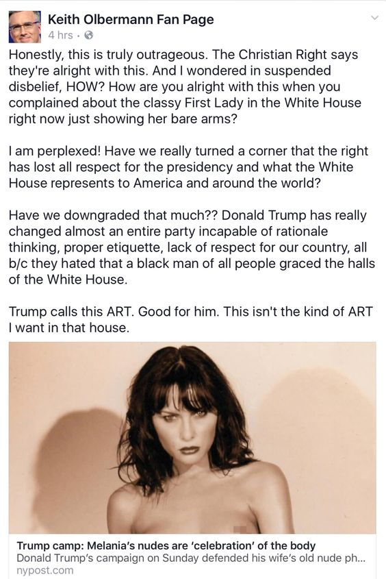 "These same ""Christians"" that suddenly feel the Nude pictures of Melania Trump is ""OK because it's Art"" would have called for the Immediate Hanging of Michelle Obama and President Obama had it been them. These people are Awful, Truly Awful."