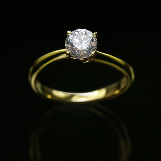 18K Yellow Gold Diamond Ring GIA 0 70 Ct Ring
