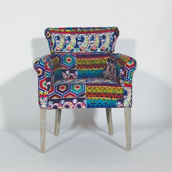 fauteuil patchwork ethnique en bois et tissu coton. Black Bedroom Furniture Sets. Home Design Ideas