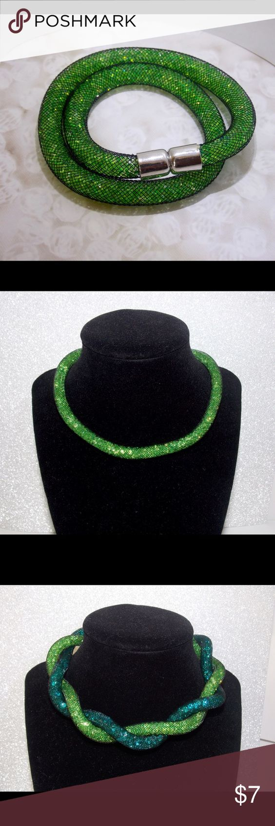 Dark green bracelet/necklace New dark green bracelet/necklace! This beautiful bracelet is full of Swarovski and you can use this like a Chocker necklace or mix them with different colors like the one on the 2nd picture.   Part of my jewelry shop Le'Luks! Follow us :) Jewelry Bracelets