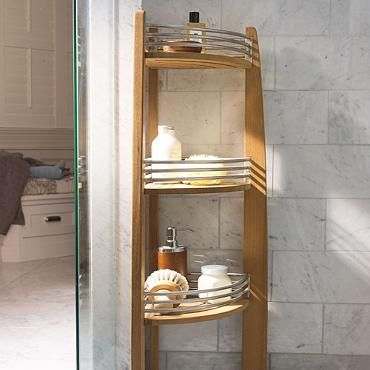 This Beautiful And Functional Teak Corner Shelf Caddy Is An Elegant  Addition To Your Spa Inspired