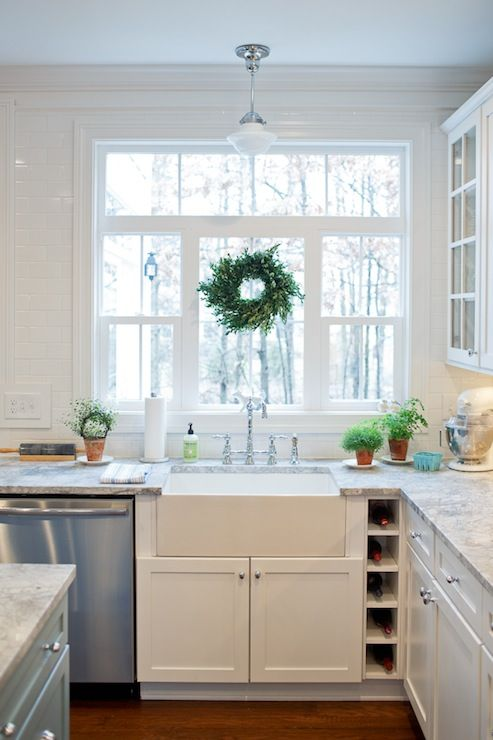 Farmhouse Sink White Cabinets : White shaker cabinetry, farm sink, Vermont white granite countertops