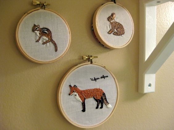 Woodland animal themed embroidery art - perfect for a woodland-themed nursery!