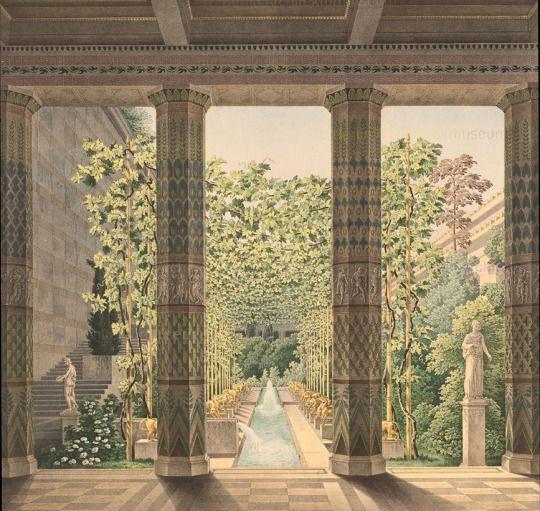 Karl Friedrich Schinkel, design drawings of Schloss Orianda, Krim, 1873. It was never built. Architekturmuseum der Technischen Universität Berlin. Via Europeana