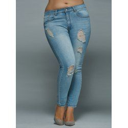 Mid Waisted Skinny Plus Size Distressed Jeans - Light Blue 5xl Polyester Zipper Fly