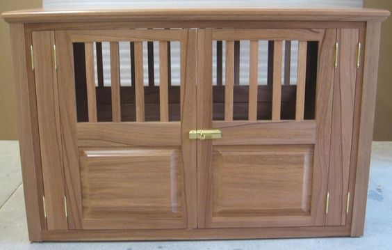 Side-Entry Fully Opening Solid Mahogany Dog Crate  Georgeous