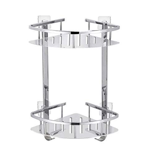 Foccoe No Drilling Bathroom Corner Shelves Stainless Steel 2 Tier Shower Shelf Caddy Adhesive Storage Bask Shower Shelves Shower Storage Bathroom Corner Shelf
