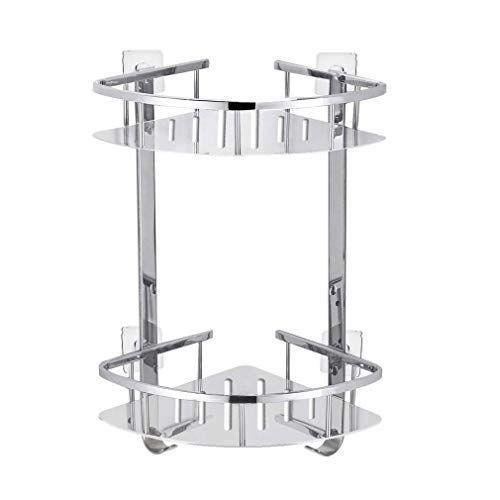 Foccoe No Drilling Bathroom Corner Shelves Stainless Steel 2 Tier Shower Shelf Caddy Adhesive Storage Basket