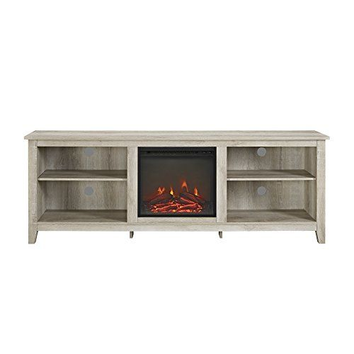 We Furniture 70 Inch Wood Media Tv Stand Console With Fireplace White Oak Antique Weathered Fireplace Tv Stand Saracina Home Fireplace Console