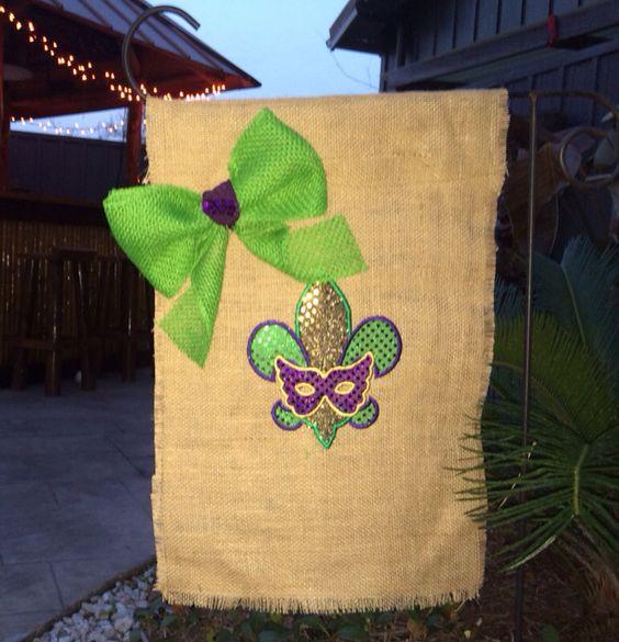 Custom monogram let the good times roll Mardi Gras Holiday  Garden Flag by NolaChicks on Etsy