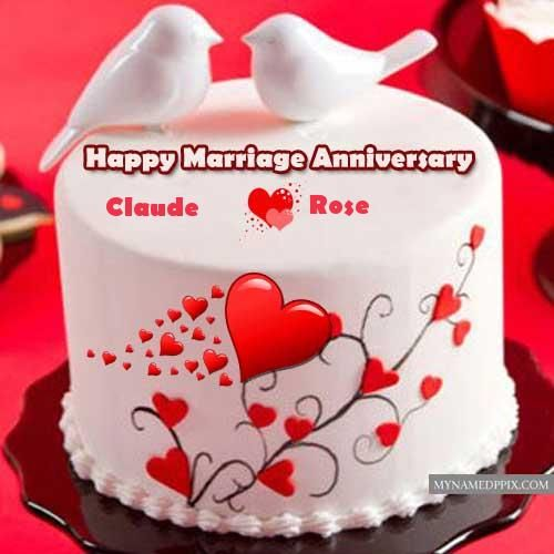 Happy Marriage Anniversary Beautiful Couple Name Bird Cake Images Happy Marriage Anniversary Cake Happy Marriage Anniversary Wedding Cake With Name