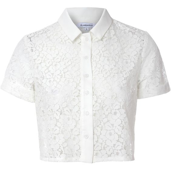White cropped lace blouse featuring polyvore fashion for Cropped white collared shirt