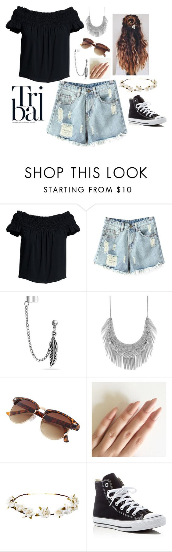 """""""Untitled #199"""" by jojasa ❤ liked on Polyvore featuring Canvas by Lands' End, Chicnova Fashion, Bling Jewelry, Lucky Brand, Cult Gaia and Converse"""
