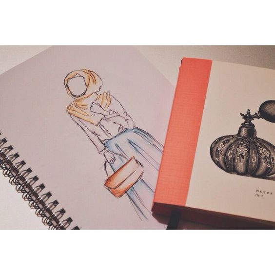 art, colors, cute, design, fashion, hijab, inspiration, love, notebook, photos, sketch, sketchbook, skirt, style