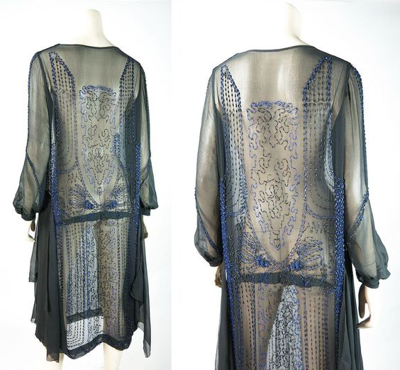 1920's Vintage Blue And Black Beaded Silk Chiffon Dress In Larger Size