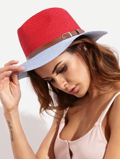 $7.99 Colorblock Vacation Wide Brim Straw Hat