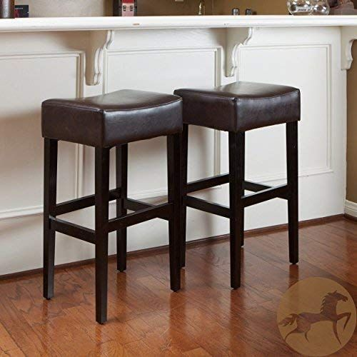 New Christopher Knight Home Lopez Brown Leather Backless Bar Stools Set 2 Online In 2020 Backless Bar Stools Bar Stools Brown Leather Bar Stools