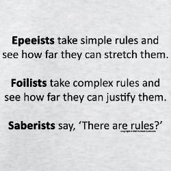 """This was too funny and accurate to abandon because it says """"saberist"""" instead of """"sabreur""""."""