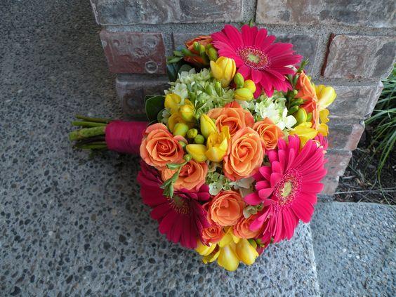 Pink, orange, yellow and green bouquet: fressia, spray roses, gerbera daisies, hydrangea ...