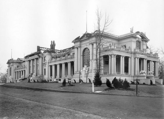 The ruins of the Missouri State Building after the fire during the 1904 World's Fair. Firefighters saved part of the west wing, shown in the foreground. As the fire spread, firefighters and other rescue workers retrieved many artifacts in that wing, including the bell that the state planned to give to the U.S. Navy for the battleship USS Missouri, which launched one year before the fair. A squad of Marines hefted the bell to safety. (Missouri History Museum)