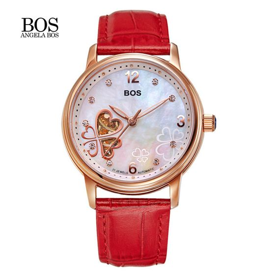 US $136.12 - BOS Women Love Clover Wristwatches Top Luxury Automatic Mechanical Watches Women Stainless Steel Waterproof For Women Watches