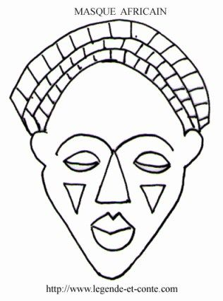 masque africain maternelle coloriage