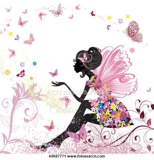 Clipart - flor, fada, em, a, meio ambiente, de, borboletas k9687771 - Busca de Ilustrações, Clip Art, Desenhos, Ilustrações vetoriais e video clip de animação EPS. - k9687771.eps: