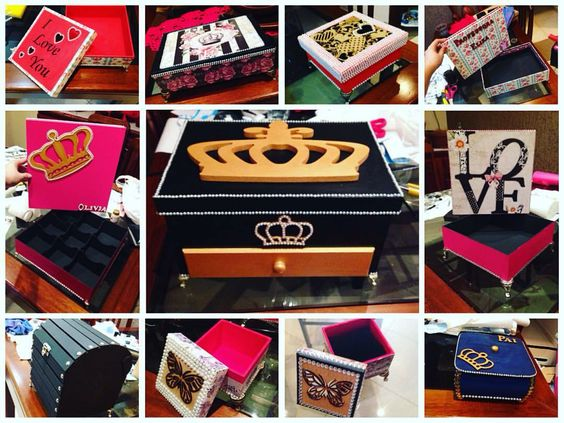 Lindas Caixas decorativas de todos os tamanhos e gostos 😍 faço sobre encomenda ☺️