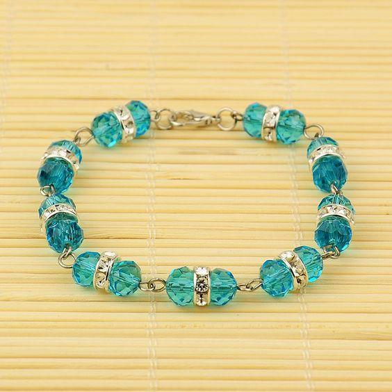 Pandahall Beads: PandaHall Jewelry—Glass Bracelets With Brass Rhinestone
