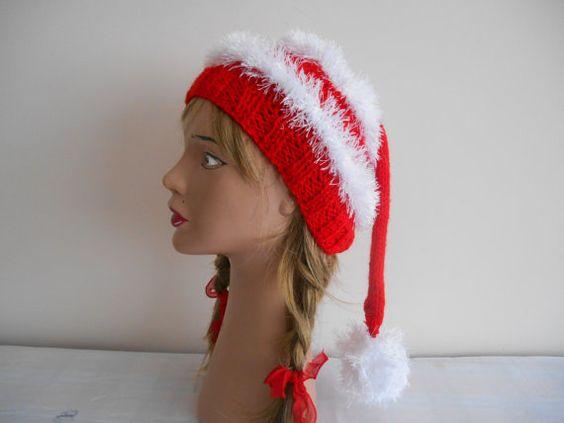 Christmas Hat Adult Christmas HatsCapsKnitted by YASEMINYASEMIN