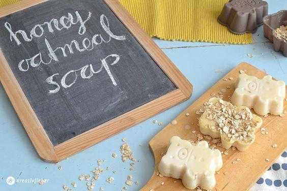 DIY Seife selber machen Honigbärenseife mit Haferflocken, Honigseife, Seife gießen, tutorial, beautyhack, beauty die